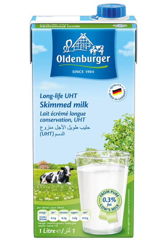 Oldenburger Skimmed milk 0.3% fat, long life UHT, 1L