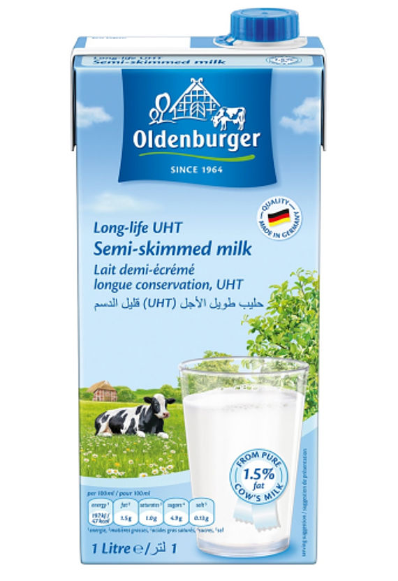 Oldenburger Semi-skimmed milk 1.5% fat, long life UHT, 1L