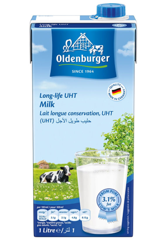 Oldenburger Milk 3.1% fat, long life UHT, 1L