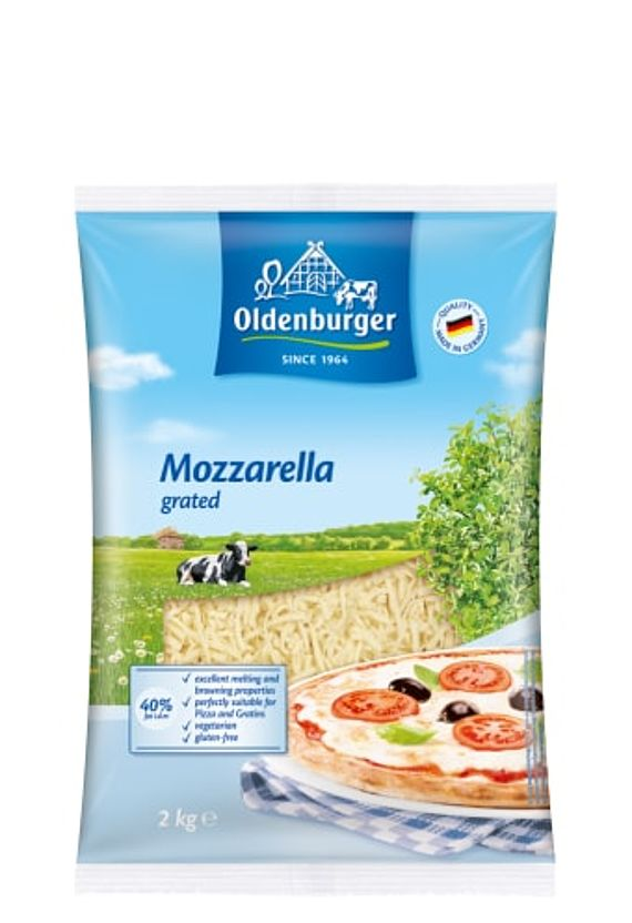 Oldenburger Mozzarella 40% fat i.d.m., grated 2kg