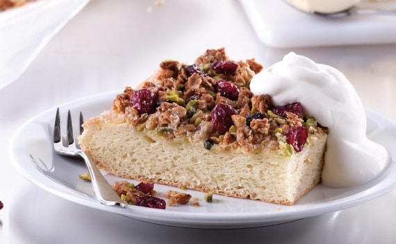 Butter Cake with Cranberry Muesli Crumble
