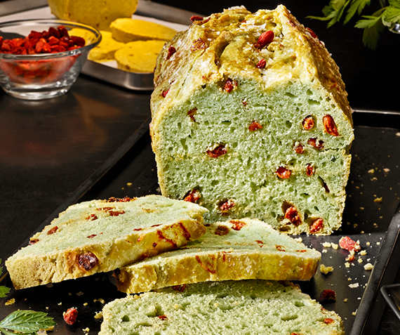 Parsley Brioche with Goji Berries