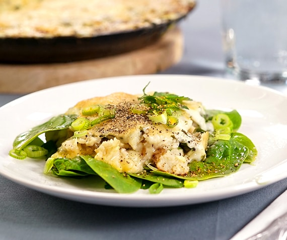 Cheesy Smoked Fish Pie with Baby Spinach