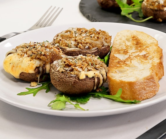 Cheesy Portobello Mushrooms with Pecan Nuts