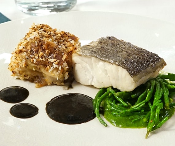 Cod with Creamy Potato Mousseline and Black Sauce