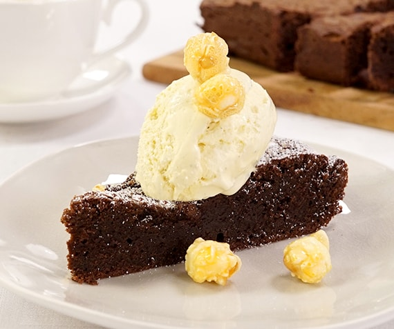 Fudgy Brownies with Vanilla Ice Cream and Caramel Popcorn