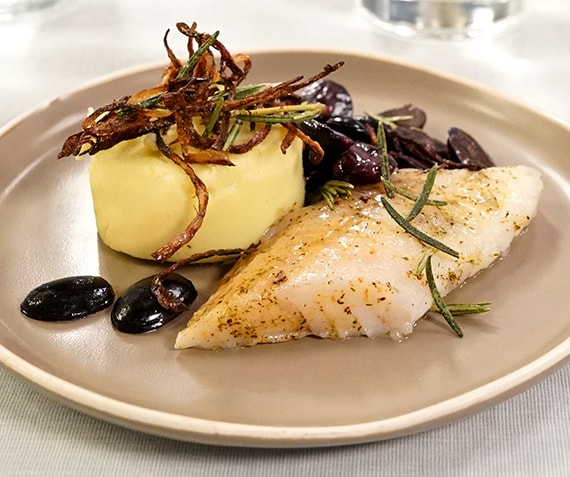 Perch with Creamy Mashed Potatoes, Grapes, Rosemary and Brown Butter