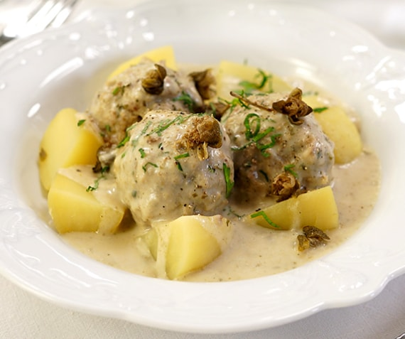 "Traditional German ""Königsberger Klopse"" with Potatoes"