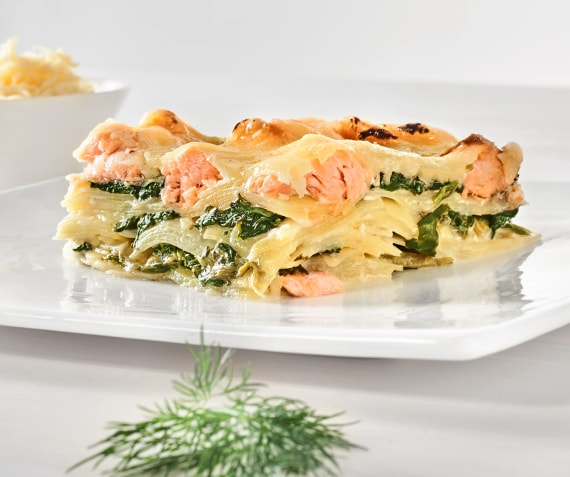 Potato and Spinach Gratin with Salmon