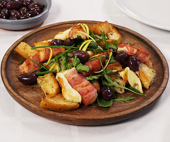 Grilled Mozzarella and Smoked Bacon with Black Olive Dressing